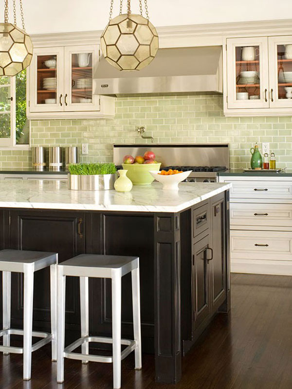 Use A Kitchen Subway Tiles For Lovely Effect Ideas : Awesome Kitchen Subway Tiles Designs With Kitchen Cabinetry And Pendant Light With Wooden Flooring Ideas