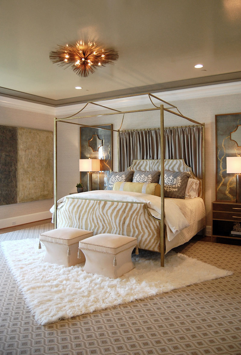 Flaunt Your Bedrooms with Decorative Canopy Beds (part-1): Awesome Master Suite Bedroom In Blue Gray Cream And Gold Decoration With A Gold Finished Canopy Bed And A Luxury Savoir Mattress
