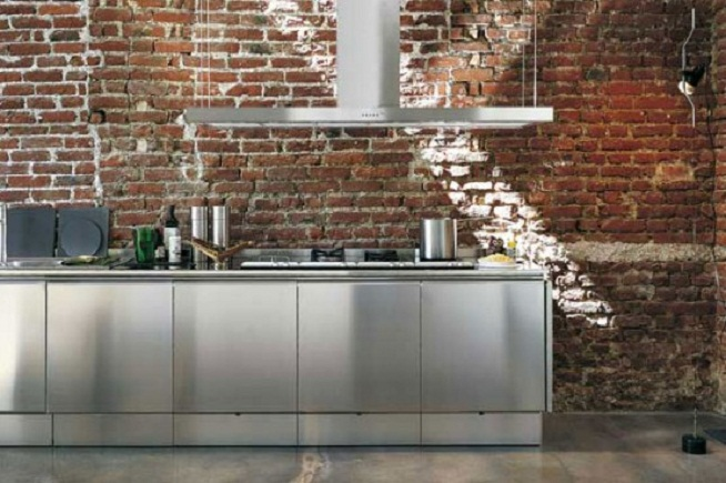 Modern Minimalist Stainless Steel Kitchen Inspiration Designs: Awesome Minimalist Stainless Steel Kitchens With Marble Floor Stainless Steel Kitchen Cabinets With Bare Brick Backsplash