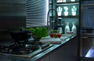 Urban Live-In Kitchen Concept : Awesome Modern Kitchen Design With Metal Surfaces And Interesting Light System Ideas