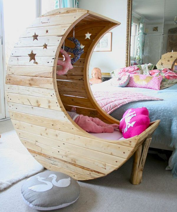 Stunning White Theme Baby bedroom Furniture Concept: Awesome Moon Shape Stunning White Theme Baby Bedroom Interior Furniture Design Ideas Crib Cute Baby Furniture Nice Rug