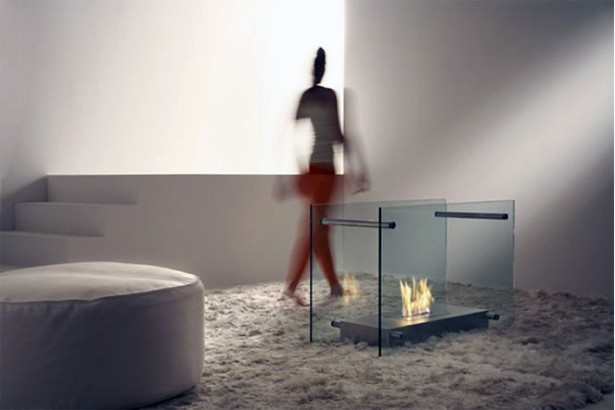 Awesome Stylish Small Modern Moveable Fireplace Design: Awesome Moveable Small Modern Fireplace With Dual Glass Screen Design Ideas At Very Simple Modern Living Room ~ stevenwardhair.com Fireplace Inspiration