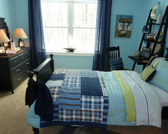 Amazing Boys Bedroom Paint Color Schemes: Awesome Ocean Breeze Paint Color At Contemporary Boys Bedroom Color Schemes