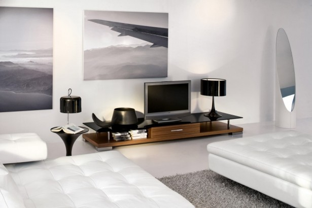 Modern Sleek Home Interior Design For Small Space: Awesome Open Plan Area Interior Design With Breathtaking Marble Floor Design And Cozy White Double Bed Remarkable Tv Rack ~ stevenwardhair.com Design & Decorating Inspiration