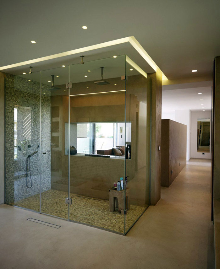Open Shower Bathroom Design Ideas : Awesome Open Shower Bathroom Design With Living Room Marble Wall Lighting Wooden Flooring Ideas