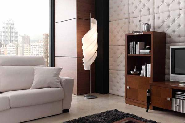 Awesome Padded Wall Panel Design As A Wall Decor Ideas : Awesome Padded Wall Panels In Large Glass Window Apartment Living Room Interior Design With Artistic Light And Sofa Cabinet Ideas