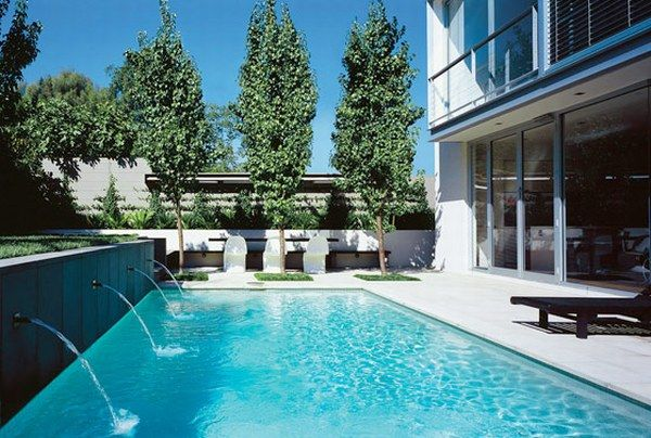 Amazing Pool Designs For Contemporary Home: Awesome Pool Design Contemporary Home Ideas Seats Backyard Railing Natural Stone Flooring