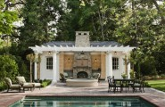 Wonderful Pool House Designs For Your Own House : Awesome Pool House Designs Ideas Traditional Outdoor Furniture Srone Fireplace Nice Green Forest View