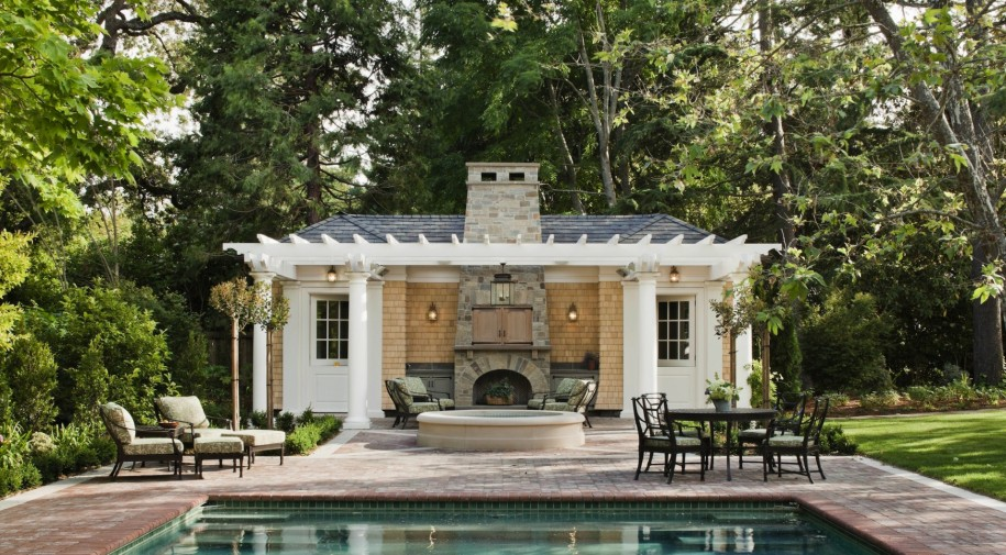Wonderful Pool House Designs For Your Own House: Awesome Pool House Designs Ideas Traditional Outdoor Furniture Srone Fireplace Nice Green Forest View