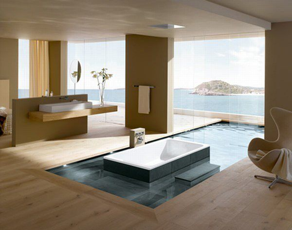 Beautiful and Relaxing Bathroom Design Ideas: Awesome Relaxing Bathrooms Interior Design With Bathtub Infinity Pool Chair Wall Mounted Table Sea View Large Glass Window Wooden Flooring Fan Sink Ideas
