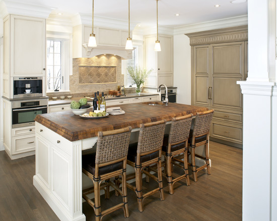 Extraordinary Gray Painted Furniture: Awesome Taupe Gray Paint On Furniture Cabinet At Traditional Kitchen Wood Island