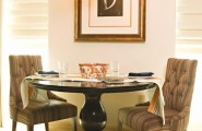 Outstanding Decorating Ideas For Small Dining Rooms : Awesome Traditional Decorating Ideas For Small Dining Rooms Breakfast Dining Area A Small Classic Pedestal Table In A Gleaming Dark Finish Sets The Tone For A Luxurious Space With Two Chairs