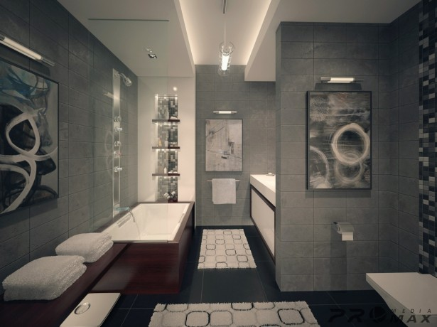 Luxurious Bathroom Designs For Apartments Ideas: Awesome Ultramodern Gray Tile Wall And Flooring Apartment Bathroom Design With Glass Wall And Mosaic Glass Wall Decor With Pictures Lamps And Mat Ideas ~ stevenwardhair.com Apartments Inspiration