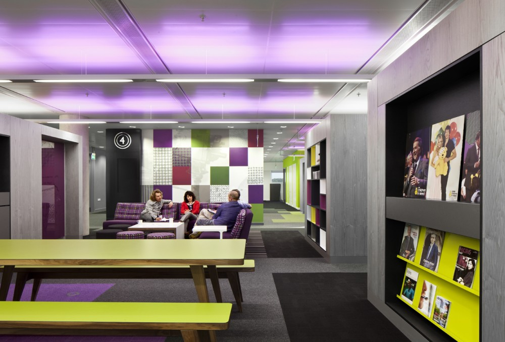 Breathtaking, Creative And Colorful BBC North Office: Awesome Vibrant Color Of Shared Spaces And Amenities Design Of BBC North Office With Sofa Bench Carpet And Amazing Colored Ceiling Lighting Ideas
