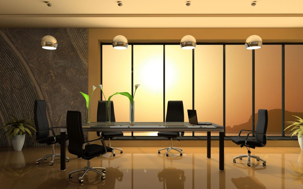 Various Awesome Conference Table Design: Awesome Warm Meeting Room Interior Design With Simply Modern Glass Top Conference Table Swivel Chairs Large Framed Glass Window And Indoor Plants Ideas