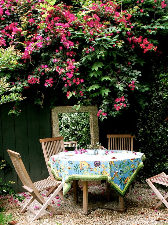 Back Yard Make Overs : Back Yard Make Overs Eclectic Patio Small Table At Side Of House Nice Use Of A Mirror