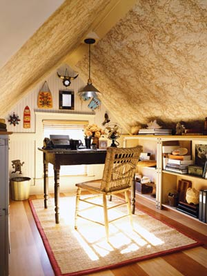 Cute home office ideas: Balmy Contempory Cute Small Attic Home Office With Old Fashion Table And Wooden Astonishing Chair Old Rug Wood Decorating