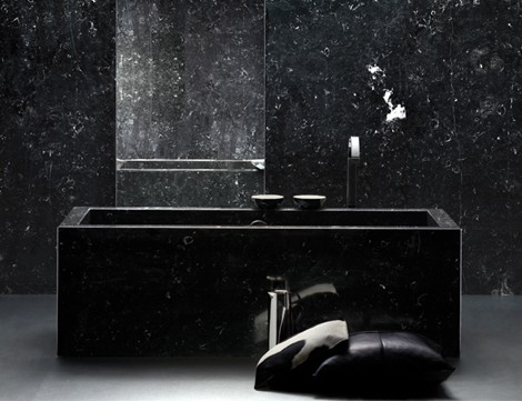 Black Bathroom Design Ideas For Adult : Bathroom Design Ideas Black Marble Square Modern Bath Tub Black Pillows Simple Sleek
