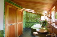 Bathroom Renovation Checklist : Bathroom Renovation 6 Beautiful Wall Tile Bathtube Sloping Wood Ceiling Doors Lamps Faucet