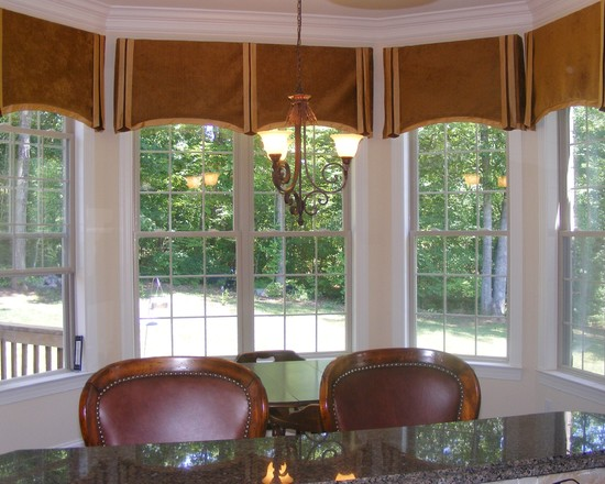 Amazing Kitchen Window Valances : Bay Window Valances These Caramel Chenille Window Treatments With A Silk Border Made The Windows Feel Much Larger