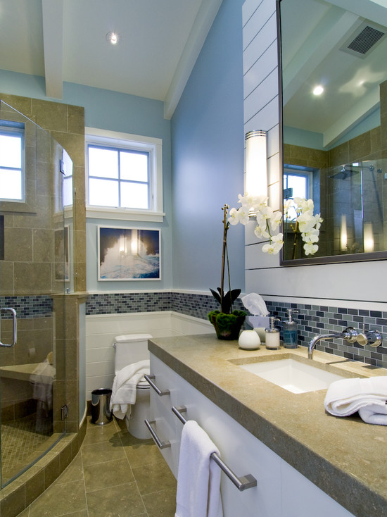 Terrific Beach Glass Backsplash: Beach Style Bathroom With Incorporated A Sea Glass Backsplash From Walker Zanger And Blue Strip Continuing Backsplash