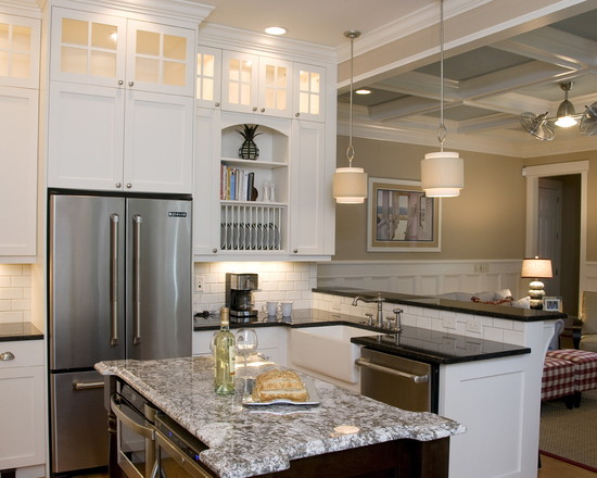 Contemporary and Traditional Kitchen With Sub Zero 36 Inch Refrigerator: Beach Style Kitchen 42 Inch Counter Depth Refrigerators Et Into The Cabinets Plate Rack And Kitchen Island With Marble Countertop ~ stevenwardhair.com Contemporary Home Design Inspiration