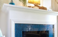Awesome Glass Mosaic Fireplace Surround : Beach Style Living Room Glass Fireplace Screen Tile Rainbow Colection