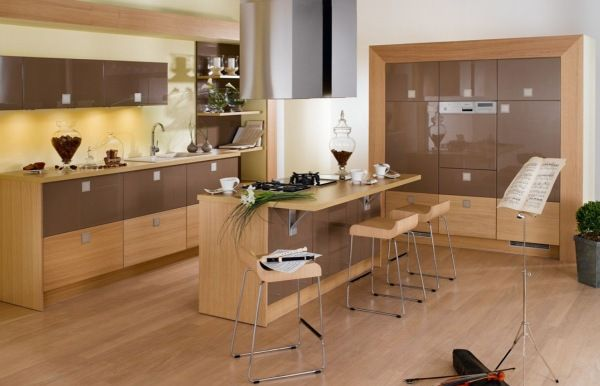 Modern Kitchen Design : Beautiful 2 Color Modern Wooden Kitchen Design 3 Cabinets Kitchen Island Chairs Exhaust Shelf Wooden Flooring Ideas