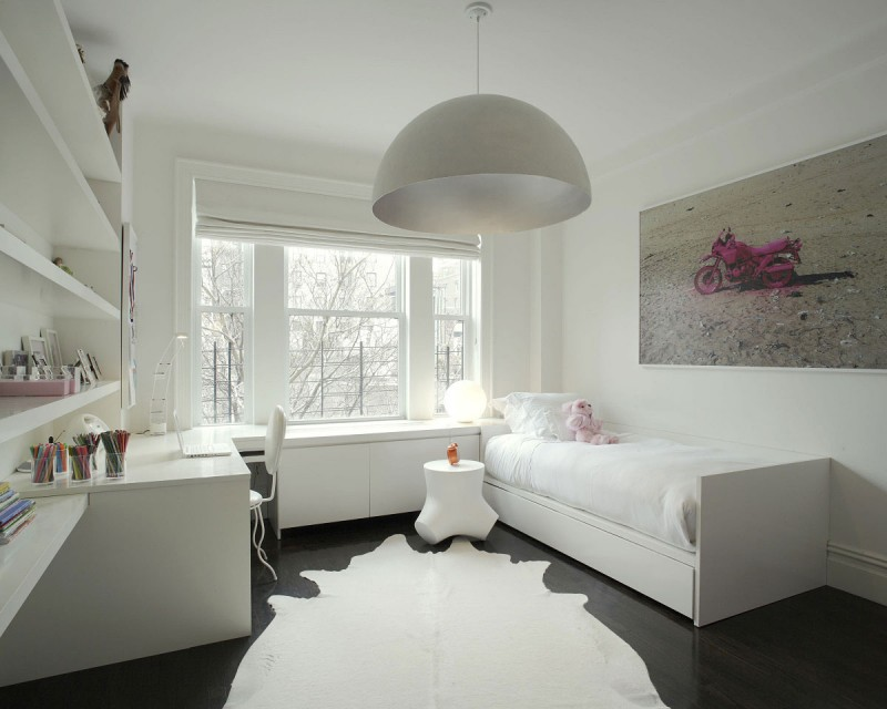 Sophisticated Design In Modern Home: Beautiful And Comfortable Kid All White Bedroom With A Single Bed Large Fur Carpet Black Flooring And Huge Dome Pendant Lamp