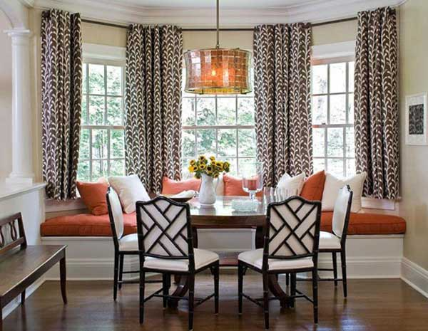 Ideas For Window Seats: Beautiful Backyard View Half Round Dining Room Window Seats Design With Cushion Curtain Table Chairs Bench Pendant Lamp Wooden Flooring Ideas