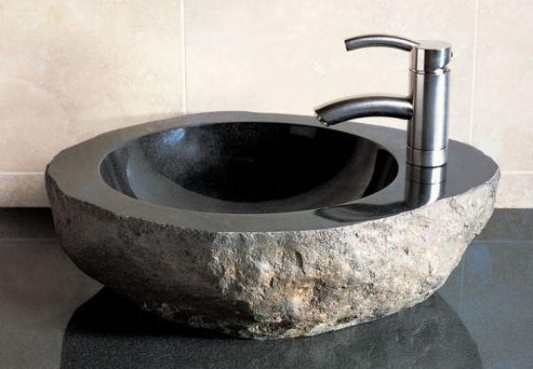 Bathrooms Vessel Sinks Design : Beautiful Bathroom Fossil Vessel Sink Design Ideas