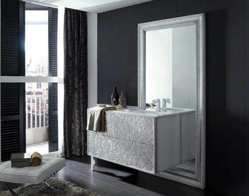 Charming Decoration Ideas Into A Girly Look Bathroom : Beautiful Bathroom Furnitures And Decoration Ideas Into A Girly Look Sleek Curtain Black Floor Toilet White Remarkable Cabinet Design Ideas