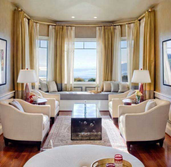 ... Ideas For Window Seats : Beautiful Bay View Living Room Window Seats  Design With Cushion Sofa ...