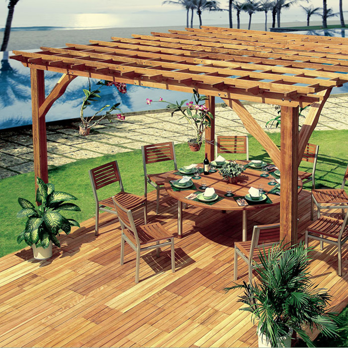 Various Beautiful Peaceful Pergola Design Ideas: Beautiful Beach Garden Pergola Design With Round Dining Table Set On Wooden Flooring Surrounding Lawn With Cobblestone Pathways @aureasfcom
