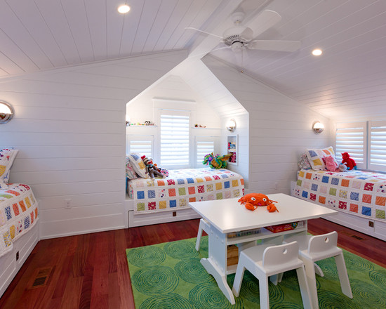 Quilt Designs For Babies Room : Beautiful Beach House Eclectic Kids White Ambiance Ceiling Fan And Colors Quilt Built In Beds