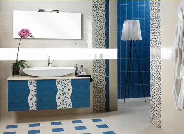 Bathroom Vanity Inspiration: Stylish Contemporary Bathroom Vanities : Beautiful Blue And White Contemporary Bathroom Vanities Design With Mirror Vessel Sink Cabinet Wall Decor Arch Lamp With Tile Wall And Tile Flooring Ideas
