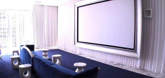 Home Theater Room Planning Ideas: Beautiful Blue Color Home Theater Designs With Large Screen Sofa Coffee Table Carpet Curtain Ideas ~ stevenwardhair.com Chairs Inspiration