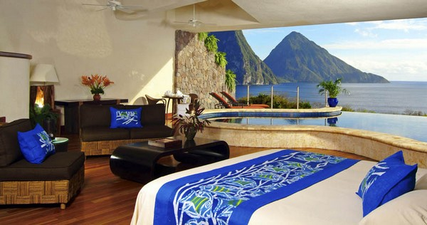 Inspiring Infinity Pool Ideas: Jade Mountain Resort Private Infinity Pool Design: Beautiful Bright Color Bedroom Interior Design With Sofa Table Ceiling Fan Wooden Flooring And Jade Mountain View Private Infinity Pool Ideas