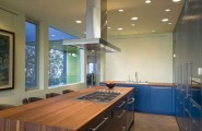 Hover House 3: Colorful Sustainable House in California : Beautiful Bright Color Kitchen Design With Wood Countertop Kitchen Island Stainless Steel Cabinet And Ceiling Lamps Ideas