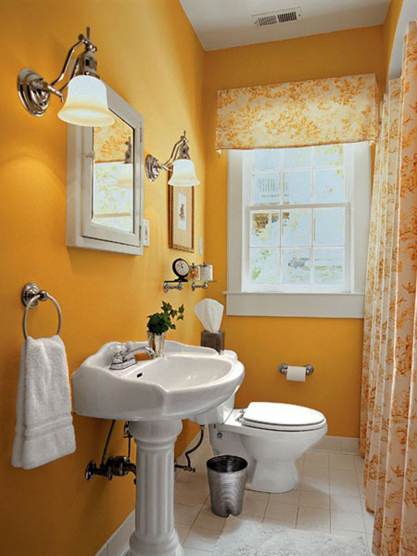 Small Bathroom Design Ideas: Beautiful Bright Color Small Bathroom Design Sink Toilet Bowl Window Curtain Lamps Towel Hanger Mirror Decorating Ideas1