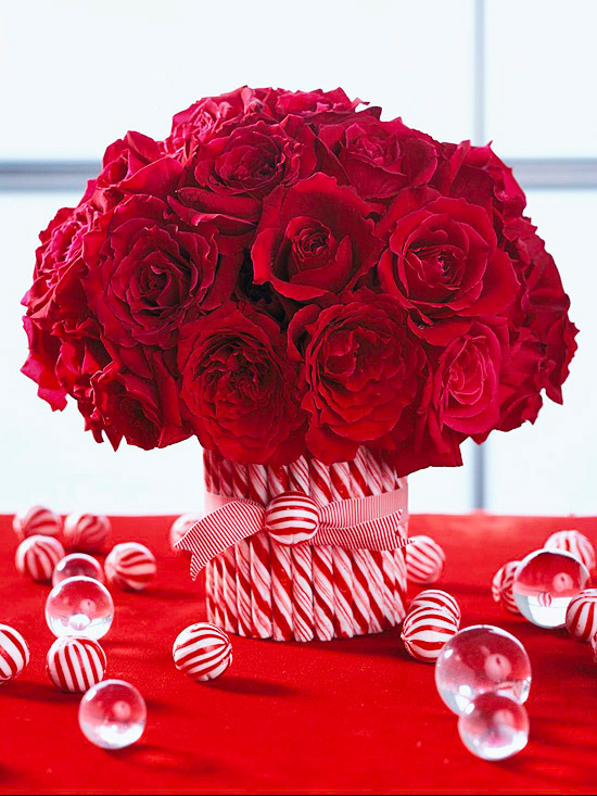 Sweet Christmas Candy Decoration Ideas: Beautiful Christmas Candy Decoration Cool Roses Candy Decoration With Red And White Peppermint Sticks Around A Vase With A Red And White Grosgrain Ribbon