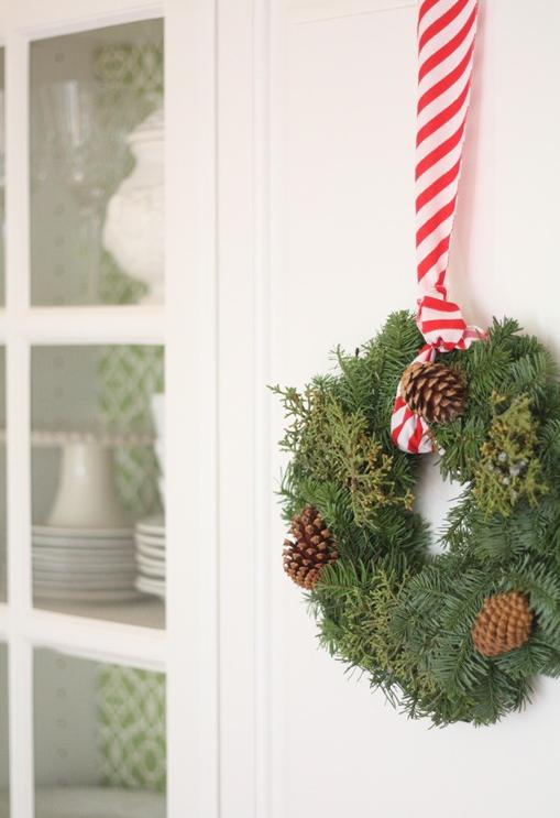 Beautiful Christmas Kitchen Decoration Inspiration Ideas : Beautiful Christmas Kitchen Decoration Inspiration Ideas Cabinets Wreath And Red Stripe Ribbon On White Cabinet Doors