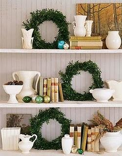 Beautiful Christmas Kitchen Decoration Inspiration Ideas: Beautiful Christmas Kitchen Decoration Inspiration Ideas Festive Color Of Open Display And White Shelving Small Wreath