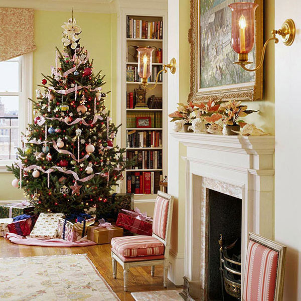 Beautiful Living Rooms Christmas Decoration Ideas: Beautiful Christmas Tree With White Ribbon And Accessories Decoration With Gifts Belows In Wooden Floor Living Room Interior Design