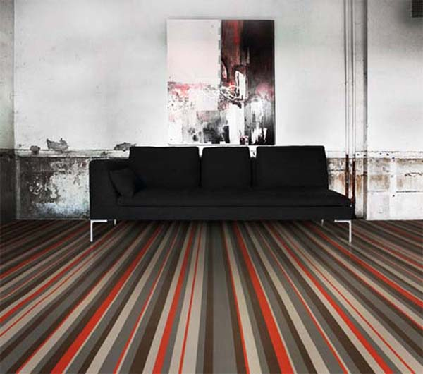 Inspiring Flooring Design Ideas: Beautiful Colorful Flooring Design With Sofa Wall Decor Ideas