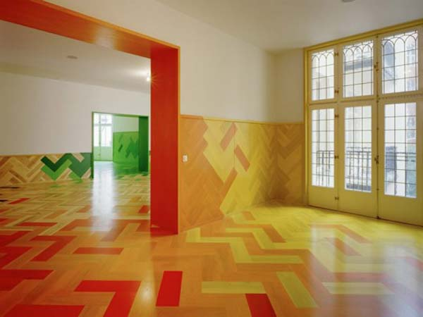 Inspiring Flooring Design Ideas : Beautiful Colorful Hand Painted Wooden Floors Design Ideas