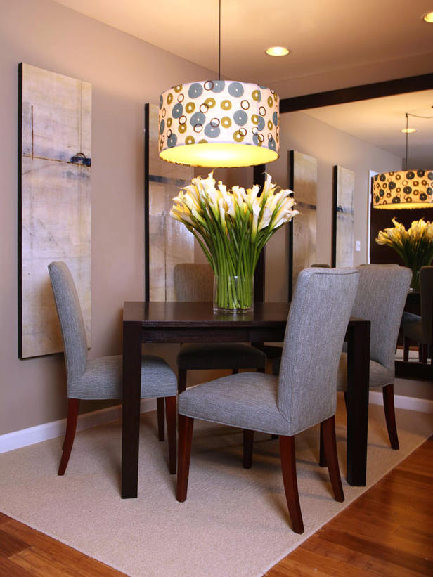 Perfect Chandelier For Your Dining Room : Beautiful Contemporary Dining Room With Large Framed Mirror Square Table And Playful Silk Shade Chandelier