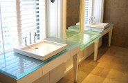 Bathroom Vanity Glass Countertop Design Ideas : Beautiful Contemporary Straight Sleek Line Chic Bathroom Cabinet Design With Minima Crystal Polished Glass Vanity Countertop And Vessel Sink Mirror Window Tile Flooring Ideas