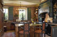 Beautiful Country Style Decoration For Your Home : Beautiful Country Style Eat In Kitchen Design With Country Style Kitchen Cabinetry Furniture And Expose Brickwall