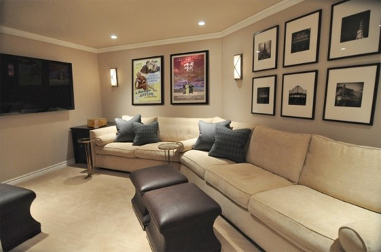 Home Theater Room Planning Ideas: Beautiful Cream Color Home Theater Designs With Sofa Quilt Cushions Coffee Table Wall Decor Ideas